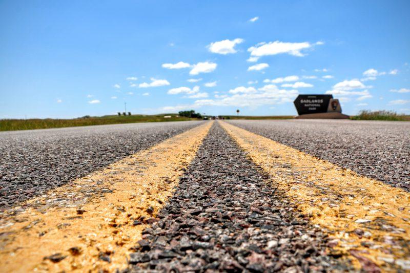 Route naar Badlands NP South Dakota