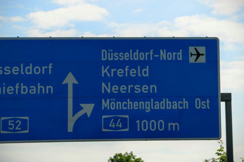 Route naar Dusseldorf luchthaven