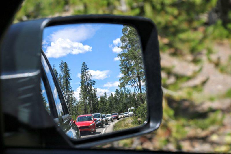 Met de auto in Yellowstone