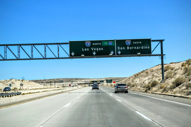 Interstate 15 naar Las Vegas
