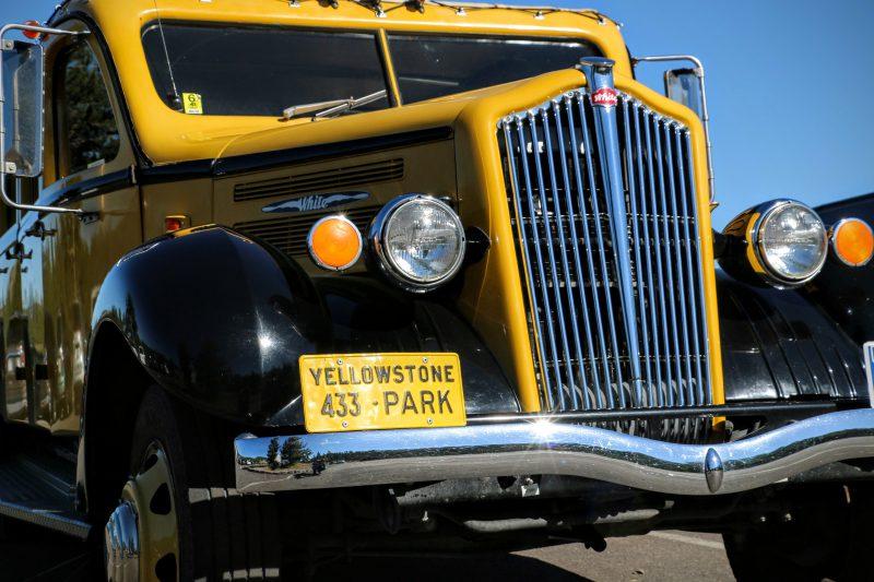 Een oude bus in Yellowstone