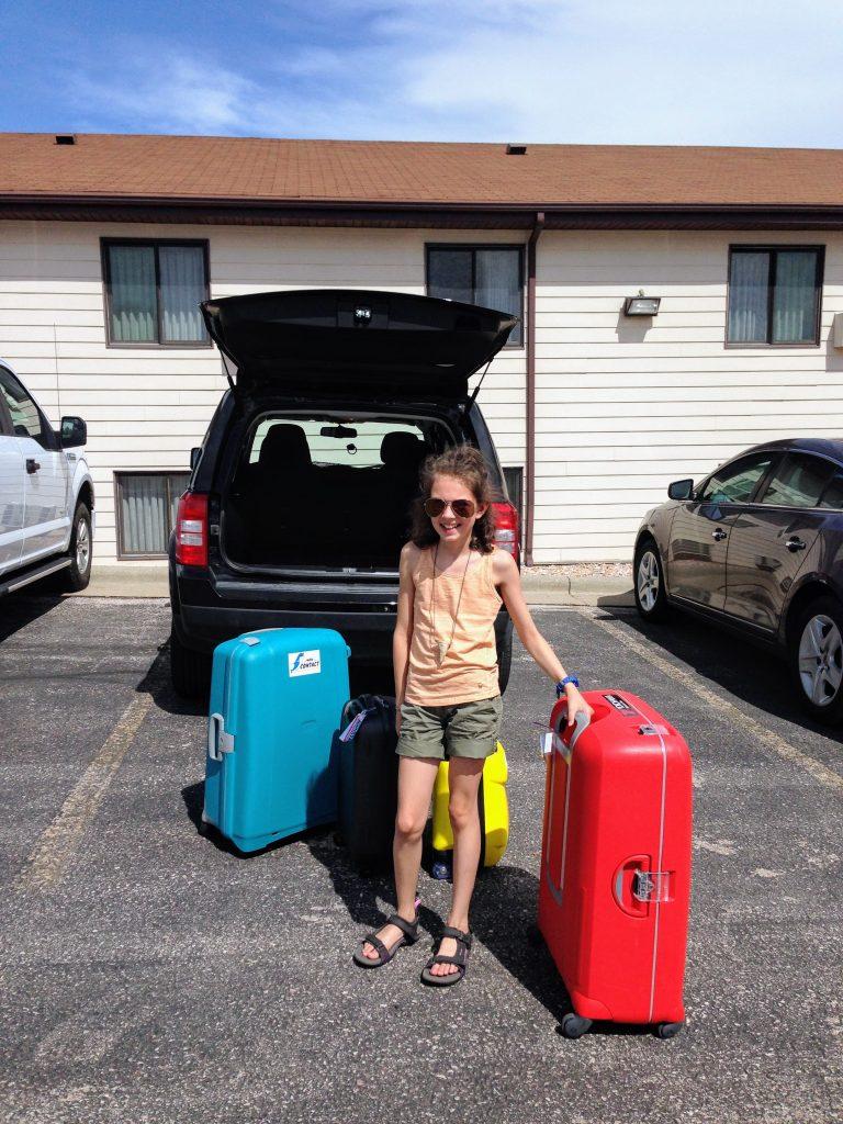Koffers uitladen tijdens onze roadtrip